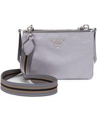 3e80a901e7327 Prada - Women s Daino Leather Crossbody Bag - Cromo - Lyst