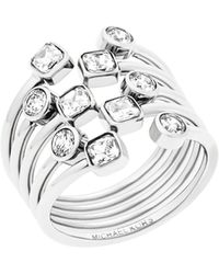 Michael Kors - Modern Brilliance Layered Crystal Ring/silvertone - Lyst