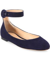 673a89d26880 Gianvito Rossi - Women s Virna Suede Ankle-strap Ballet Flats - Royale -  Size 35.5