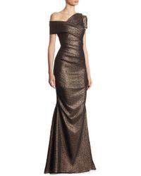 Talbot Runhof - Metallic Scuba Gown - Lyst