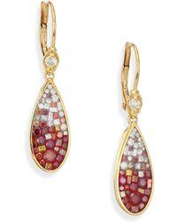 Plevé - Raspberry Ombre Diamond & 18k Yellow Gold Teardrop Earrings - Lyst