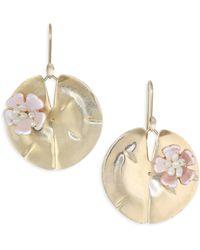 Annette Ferdinandsen - Flora Mother Of Pearl & 14k Yellow Gold Lily Pad Earrings - Lyst