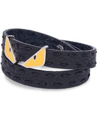 Fendi - Monster Eye Double Wrap Leather Bracelet - Lyst