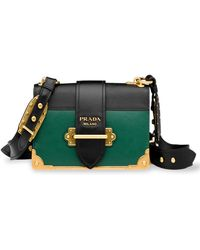 94d5d7791526 Prada - Studded Cahier Leather Crossbody Bag - Lyst