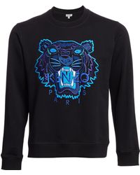 6397f9f8a KENZO - Men's Embroidered Tiger Crewneck Sweatshirt - Black - Lyst