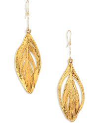 Aurelie Bidermann - 18k Yellow Gold Swan Feathers Earrings - Lyst
