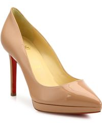 Christian Louboutin - Pigalle Plato Patent Leather Point Toe Platform Pumps - Lyst