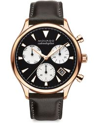 Movado - Heritage Series Calendoplan Rose Goldtone Stainless Steel & Leather Strap Watch - Lyst