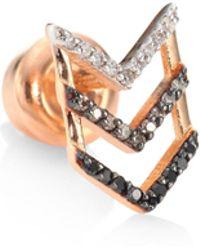 Kismet by Milka - Trio Chevron Diamond & 14k Rose Gold Single Stud Earring - Lyst