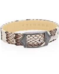 Stinghd | Luxe Platinum-plated Pure Silver & Python Leather Buckled Bracelet | Lyst