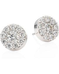 Hearts On Fire - Diamond & 18k White Gold Button Stud Earrings - Lyst