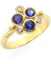Temple St. Clair - Women's Diamond & Blue Sapphire Trio Ring - Yellow Gold - Lyst