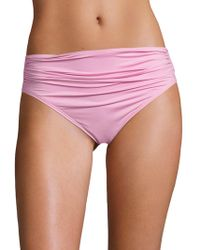 Carmen Marc Valvo - Classic Weave Shirred Waist Bikini Bottom - Lyst
