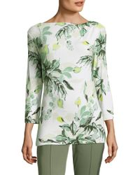 St. John - Painted Leaves Top - Lyst