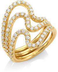 Carelle - Brushstroke N? 22 Diamond & 18k Yellow Gold Ring Set - Lyst