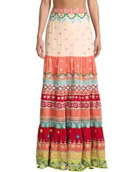 Saloni - Isabel Tiered Embroidered Silk Maxi Skirt - Lyst