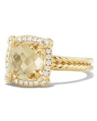 David Yurman - Châtelaine Pave Bezel Ring With Champagne Citrine And Diamonds In 18k Gold - Lyst
