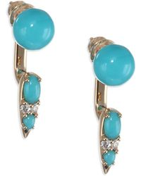 Nikos Koulis - Spectrum 18k Yellow Gold, Turquoise & Diamond Drop Earrings - Lyst