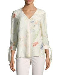 Lafayette 148 New York - Blaire Painterly Tie-sleeve Blouse - Lyst