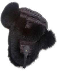 2ac58563f6e Fendi Micro-Logo Fox-Fur Lined Trapper Hat in Blue - Lyst