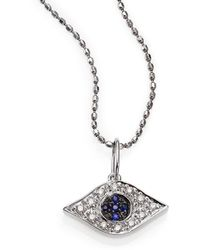 Sydney Evan - Diamond, Sapphire & 14k White Gold Small Evil Eye Pendant Necklace - Lyst