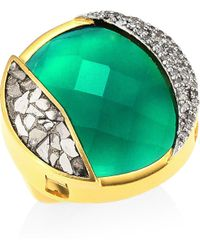 Shana Gulati - 18k Goldplated Diamonds & Green Onyx Ring - Lyst
