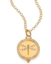 Temple St. Clair - Tree Of Life Diamond & 18k Yellow Gold Dragonfly Cutout Disc Pendant - Lyst