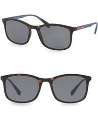 Prada - Linea Rossa 56mm Tortoise Sunglasses - Lyst