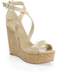Jimmy Choo - Portia 120 Patent Leather & Cork Platform Wedge Sandals - Lyst
