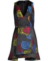 b8cc0d79267 Alice + Olivia - Women s Tanner Asymmetric Floral Mini A-line Dress - Black  Multi
