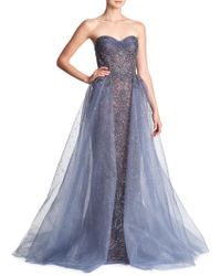 Marchesa - Beaded Tulle Metallic Gown - Lyst