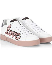 Dolce & Gabbana - Embroidered Lace-up Trainers - Lyst