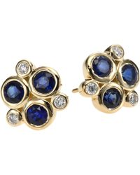 Temple St. Clair | Classic Colour Sapphire, Diamond & 18k Yellow Gold Trio Earrings | Lyst