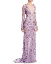 Naeem Khan - Floral Embroidered Gown - Lyst