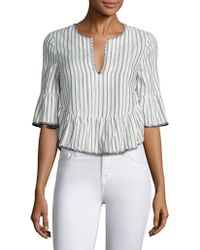 BCBGMAXAZRIA | Striped Ruffled Bell Sleeves Cropped Top | Lyst