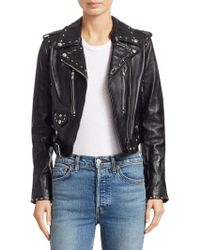 RE/DONE - The Studded Leather Cropped Moto Jacket - Lyst