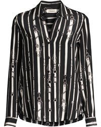 L'Agence - Belt Printed Shirt - Lyst