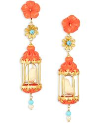 Of Rare Origin - Aviary Classic Coral, Turquoise, Bone & Freshwater Pearl Drop Earrings - Lyst