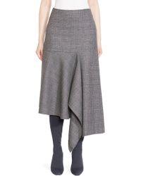 Balenciaga - Prince Of Wales Virgin Wool Godet Skirt - Lyst