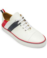 Thom Browne - Diagonal Stripe Canvas & Leather Low-top Sneakers - Lyst