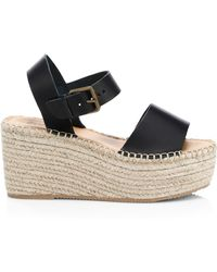 bd6fb965bee Soludos - Women s Minorca Leather High Platform Espadrille Sandals - Black  - Size 11 - Lyst