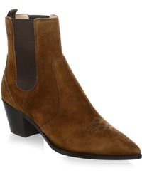 Gianvito Rossi - Western Suede Booties - Lyst