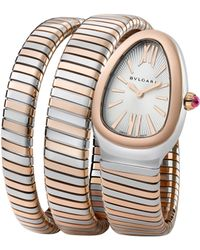 BVLGARI - Serpenti Tubogas Rose Gold & Stainless Steel Double Twist Watch - Lyst