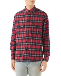 c4c716ab Gucci Paramount Plaid Cotton Flannel Shirt in Natural for Men - Lyst