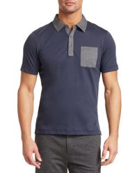 Saks Fifth Avenue - Men's Modern Pocket Polo Tee - Midnight Charcoal - Size Small - Lyst