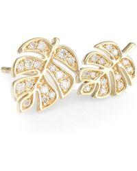 Sydney Evan - Monstera 14k Yellow Gold & Diamond Double Left Stud Earring - Lyst
