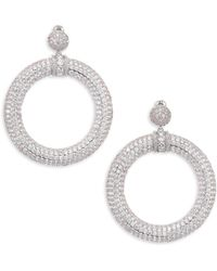 Fallon - Pave Drama Hoop Earrings - Lyst