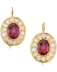 Renee Lewis Vintage Handcrafted 18k Yellow Gold, Garnet & Diamond Drop Earrings