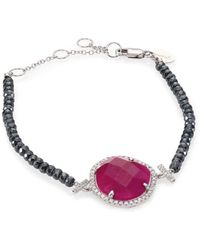 Meira T - Diamond, Ruby, Silverite & 14k White Gold Bracelet - Lyst