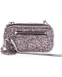 4285a5c0f541 Rebecca Minkoff - Women's Glitter Double Zip Crossbody Bag - Silver Multi -  Lyst